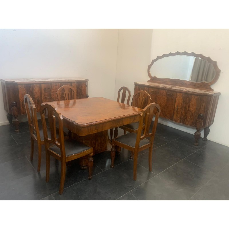 Art Deco Rosewood & Marble Dining Room Set, 1930s