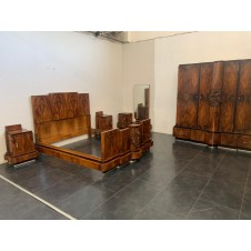 Walnut Furniture with Carvings by Ducrot, 1920s