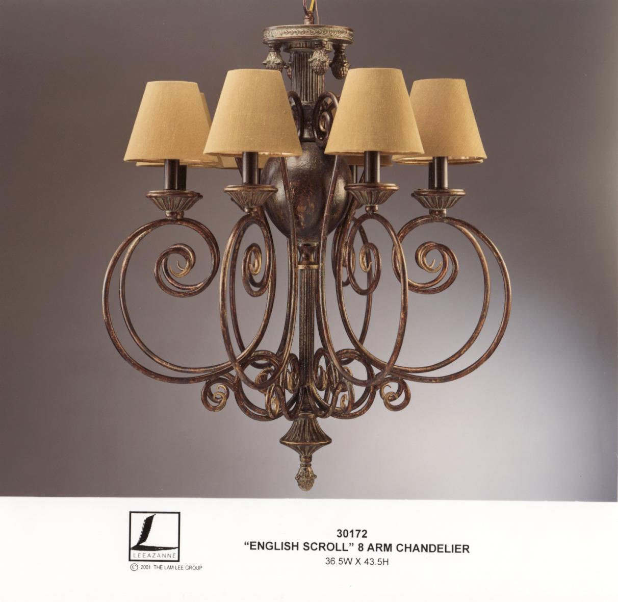 Chandelier english scroll 8 armd93x110h marco polo antiques zoom arubaitofo Image collections
