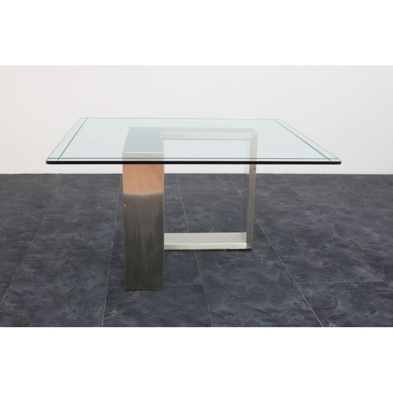 Tavolo acciaio e vetro anni 70 135x136x71h marco polo for Scrivanie in vetro e acciaio