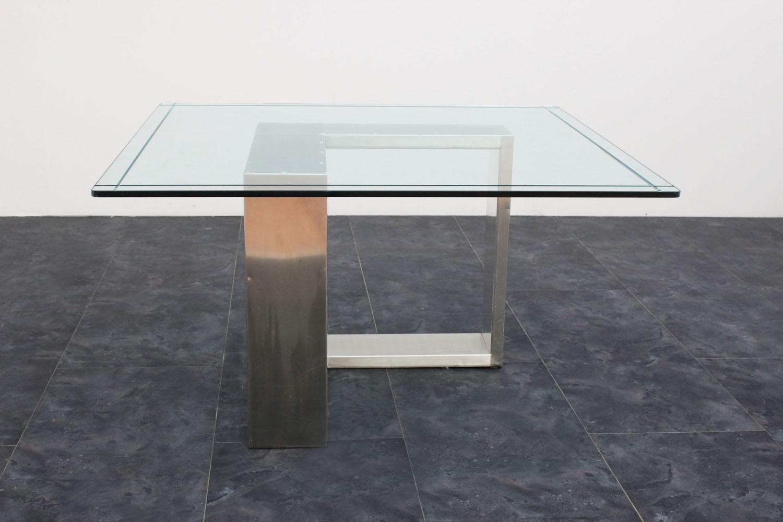 Tavolo acciaio e vetro anni 70 135x136x71h marco polo for Tavolo design vetro