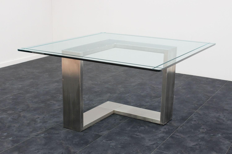 Tavolo Cristallo In Vetro.Tavolo Acciaio E Vetro Anni 70 135x136x71h Marco Polo Antiques