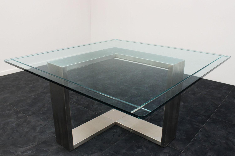 Tavolo acciaio e vetro anni 70 135x136x71h marco polo - Tavolo acciaio e vetro ...