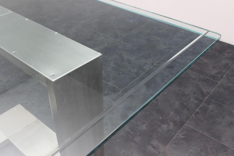 Tavoli In Cristallo E Acciaio.Tavolo Acciaio E Vetro Anni 70 135x136x71h Marco Polo Antiques
