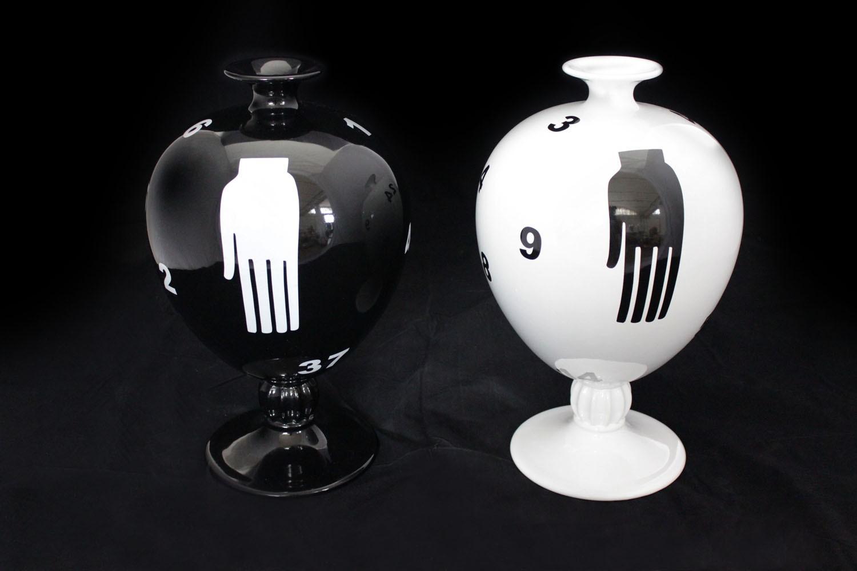 Vaso mimmo paladino nero marco polo antiques online